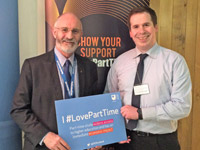 Dave pictured with �I#LovePartTime� Open University Board in the Scottish Parliament